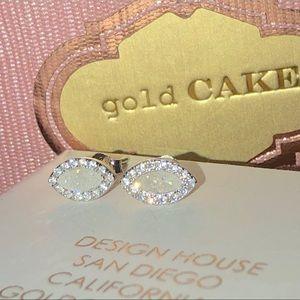 Opal Drusy Rhodium Silver Post Stud Earrings